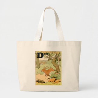 Whitetail Deer Stag Alphabet Jumbo Tote Bag