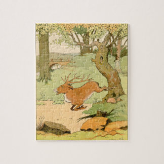 Whitetail Deer Stag Bolting in the Forest Jigsaw Puzzle