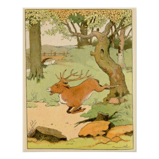 Whitetail Deer Stag Bolting in the Forest Poster