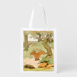 Whitetail Deer Stag Bolting in the Forest Reusable Grocery Bags