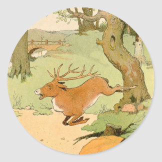 Whitetail Deer Stag Running in the Forest Classic Round Sticker