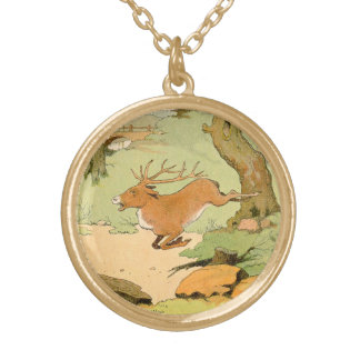 Whitetail Deer Stag Running in the Forest Gold Plated Necklace