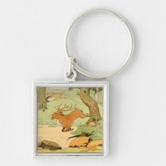 Whitetail Deer Stag Running in the Forest Keychain