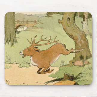 Whitetail Deer Stag Running in the Forest Mouse Pad