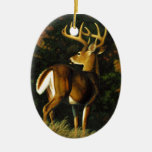 Whitetail Deer Trophy Buck Hunting Double-Sided Oval Ceramic Christmas Ornament