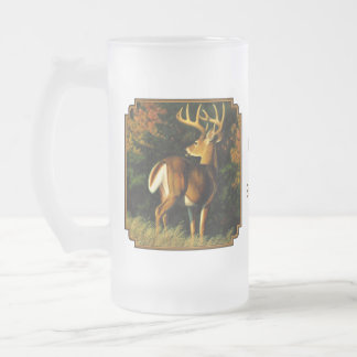 Whitetail Deer Trophy Buck Hunting Frosted Glass Beer Mug