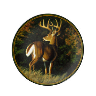 Whitetail Deer Trophy Buck Hunting Porcelain Plate