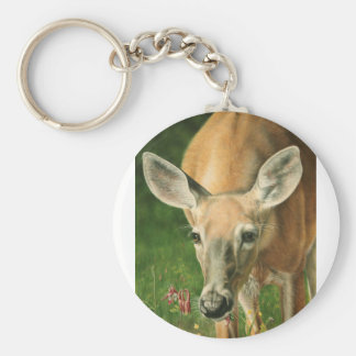 Whitetail deer, whitetail doe eating flowers. basic round button keychain