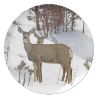Whitetail Deer Wildlife Animals Fawns Dinner Plate