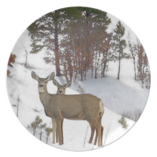 Whitetail Deer Wildlife Animals Fawns Melamine Plate
