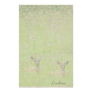 Whitetail Deer Wildlife Animals Fawns Stationery