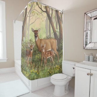 Whitetail Doe and Cute Twin Fawns Shower Curtain