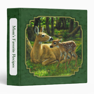 Whitetail Doe and Fawn Forest Green Binders