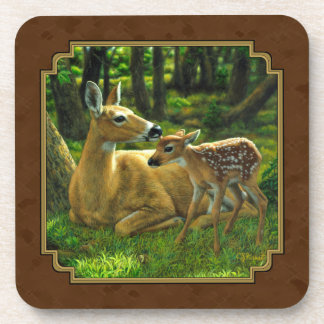 Whitetail Doe and Spring Fawn Brown Drink Coaster