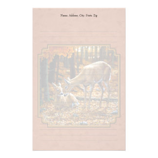 Whitetail Doe & Fawn Autumn Rust Stationery