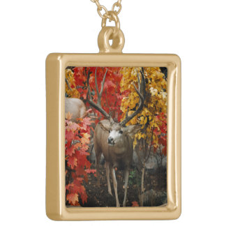 Whitetail In Autumn Gold Plated Necklace