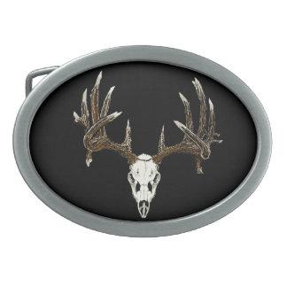 Whitetail skull oval belt buckle