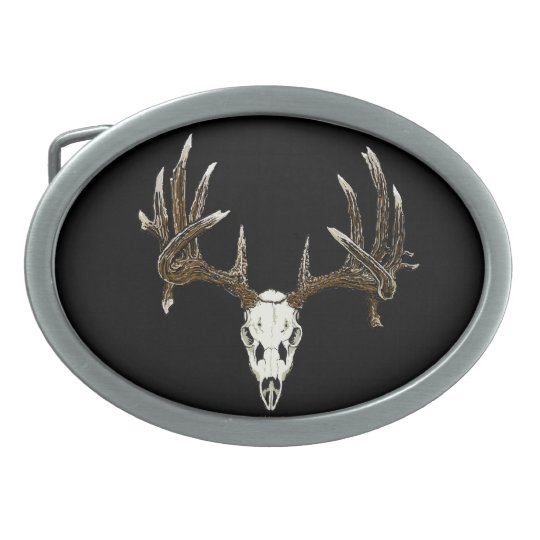 Whitetail skull oval belt buckle