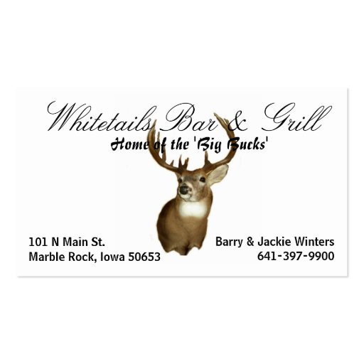 Whitetails Bar & Grill Double-Sided Standard Business Cards (Pack Of 100)