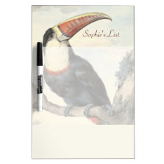 Whitethroated American Toucan Vintage Watercolor Dry Erase Board at Zazzle