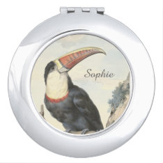 Whitethroated American Toucan Vintage Watercolor Mirror For Makeup at Zazzle