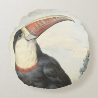 Whitethroated American Toucan Vintage Watercolor Round Pillow at Zazzle