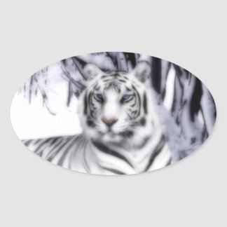 WhiteTiger Oval Sticker