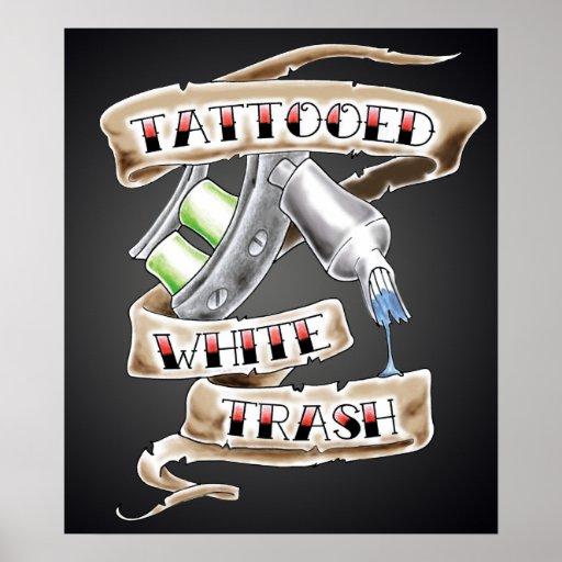 Whitetrash poster zazzle for Tattooed white trash t shirt