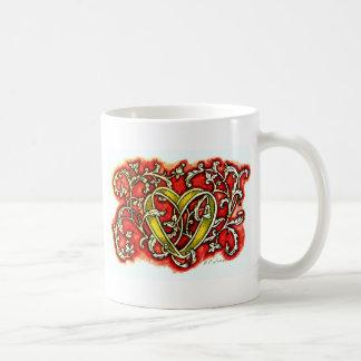 whitevine heart coffee mug