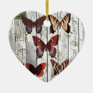 whitewashed barn wood bohemian french butterfly ceramic ornament