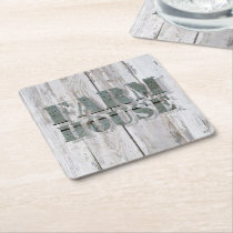 whitewashed  barn wood western country farmhouse square paper coaster