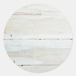 Whitewashed Barn Wood White Woodgrain Classic Round Sticker