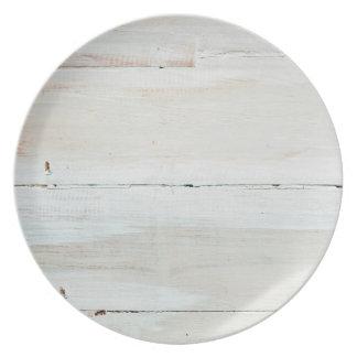 Whitewashed Barn Wood White Woodgrain Dinner Plate