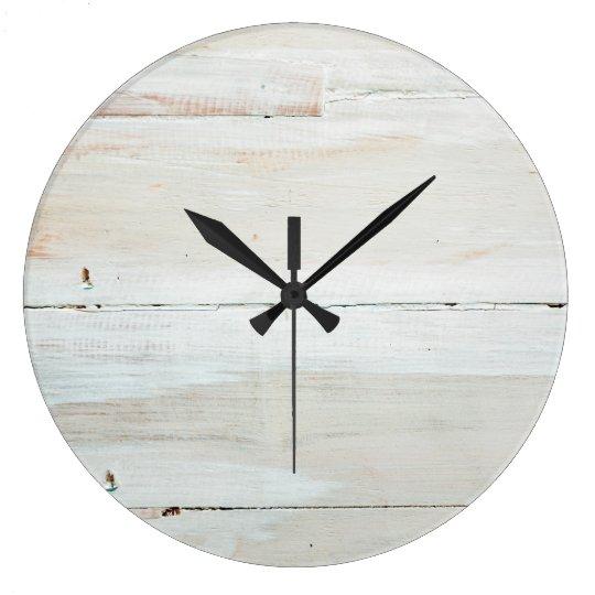 Whitewashed Barn Wood White Woodgrain Large Clock
