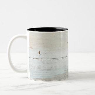 whitewashed Barn Wood White Woodgrain Two-Tone Coffee Mug