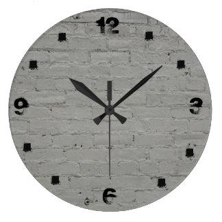 Whitewashed Brick Large Clock