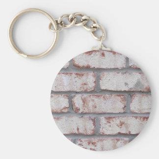 Whitewashed Brick Wall Basic Round Button Keychain