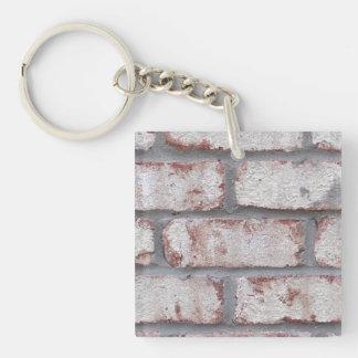 Whitewashed Brick Wall Double-Sided Square Acrylic Keychain