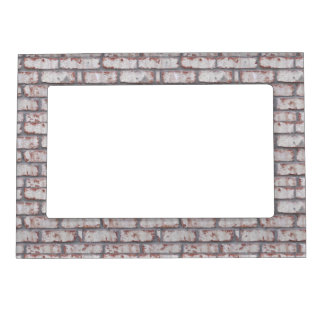 Whitewashed Brick Wall Magnetic Picture Frame