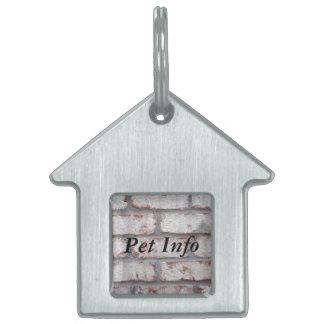 Whitewashed Brick Wall Pet Name Tag