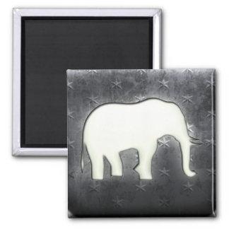 Whitewashed Elephant 2 Inch Square Magnet