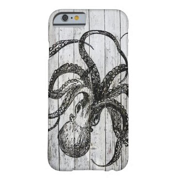 Beach Themed Whitewashed Wood and Octopus Barely There iPhone 6 Case