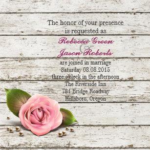 Whitewashed Wood Pink Rose French Country Wedding Invitation