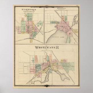 Whitewater, Elkhorn y Ginebra Póster