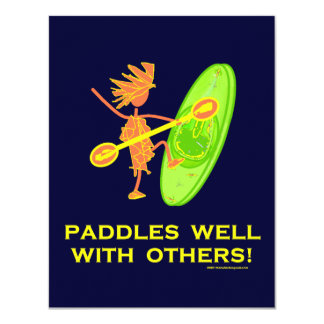 Whitewater Kayak - Paddles Well With Others 2 4.25x5.5 Paper Invitation Card