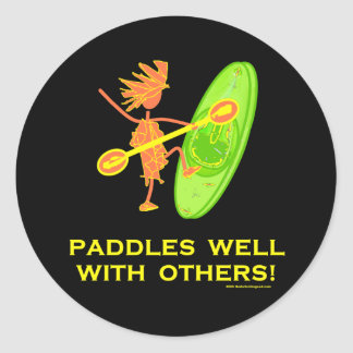 Whitewater Kayak - Paddles Well With Others 2 Round Sticker