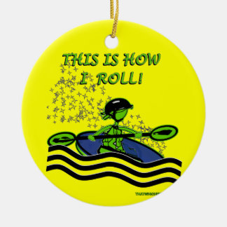 Whitewater Kayak Roll Ceramic Ornament
