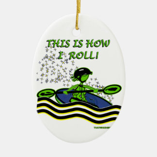 Whitewater Kayak Roll Double-Sided Oval Ceramic Christmas Ornament