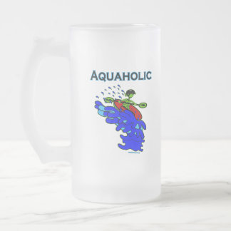 Whitewater Kayaker Aquaholic Blue Green 16 Oz Frosted Glass Beer Mug