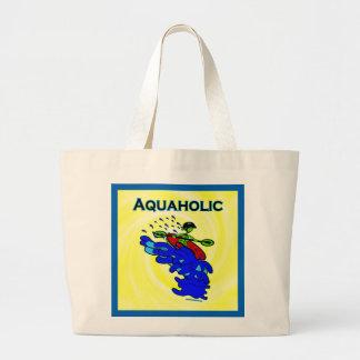 Whitewater Kayaker Aquaholic Blue Green Large Tote Bag
